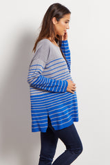 Blue Grey Striped Colorblock Knit Maternity Sweater