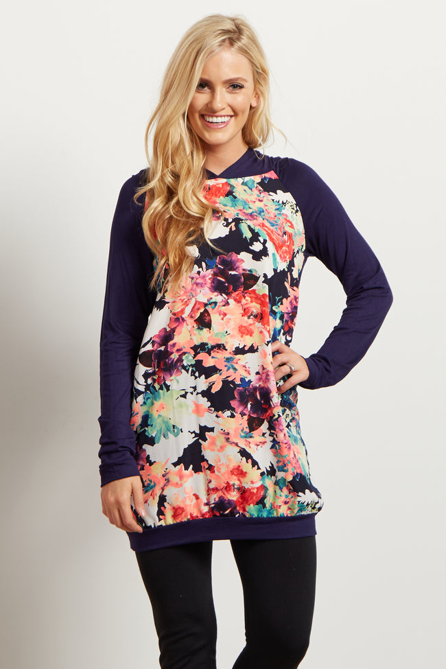 Navy Neon Floral Hooded Top