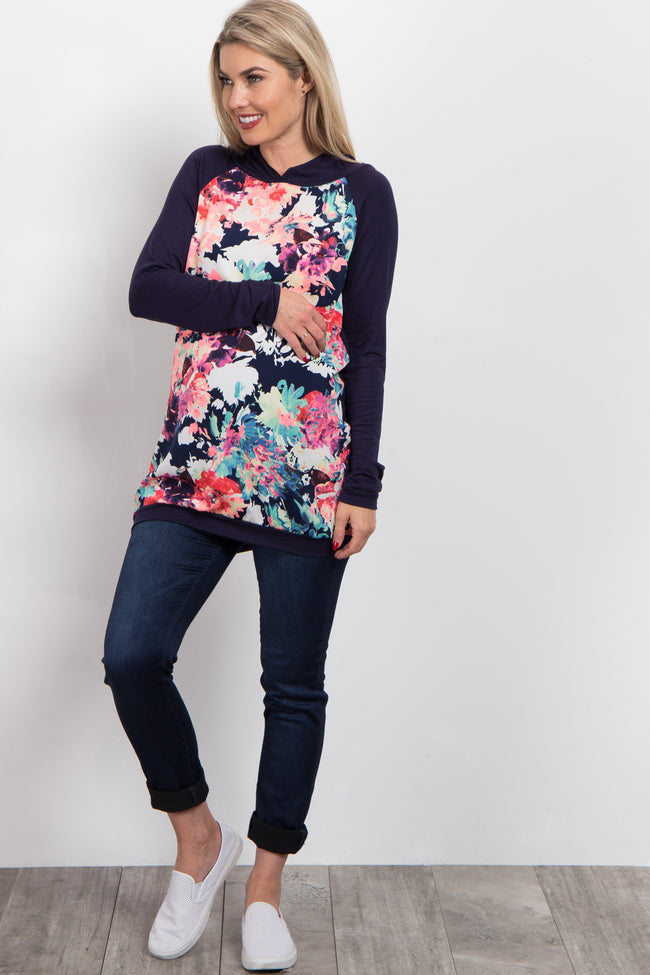 Navy Neon Floral Hooded Maternity Top