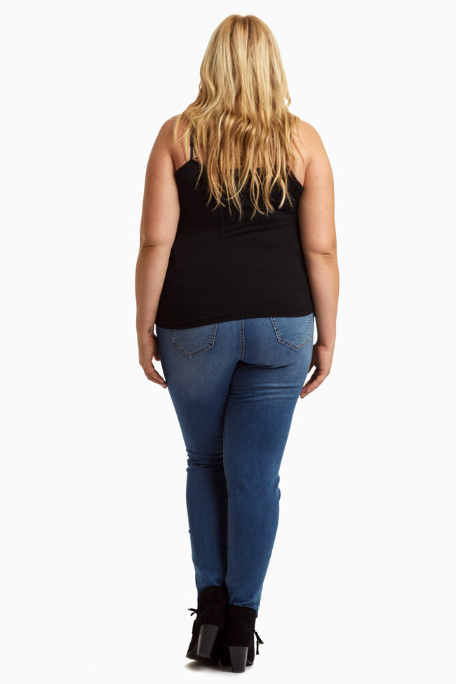 Blue Medium Wash Plus Size Skinny Jeans