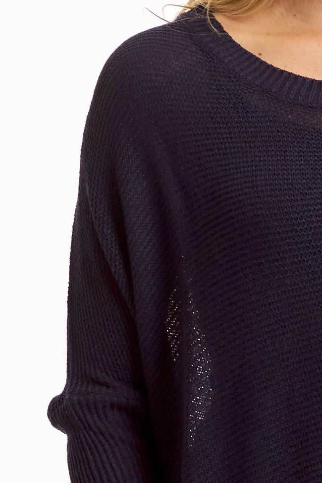 Navy Blue Long Sleeve Sweater