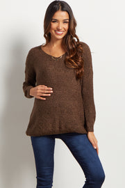 Brown Long Sleeve Maternity Sweater