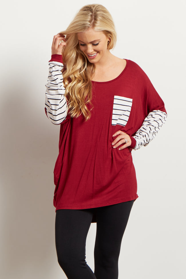 Burgundy Striped Sleeve Top