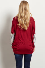 Burgundy Striped Sleeve Maternity Top