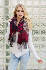 Fuchsia Tribal Tassel Trim Knit Scarf