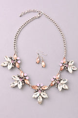 Pink Floral Jewel Statement Necklace/Earring Set