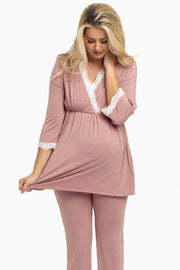 Mauve Lace Trim Maternity Pajama Top