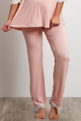 Pink Lace Trim Maternity Pajama Pants