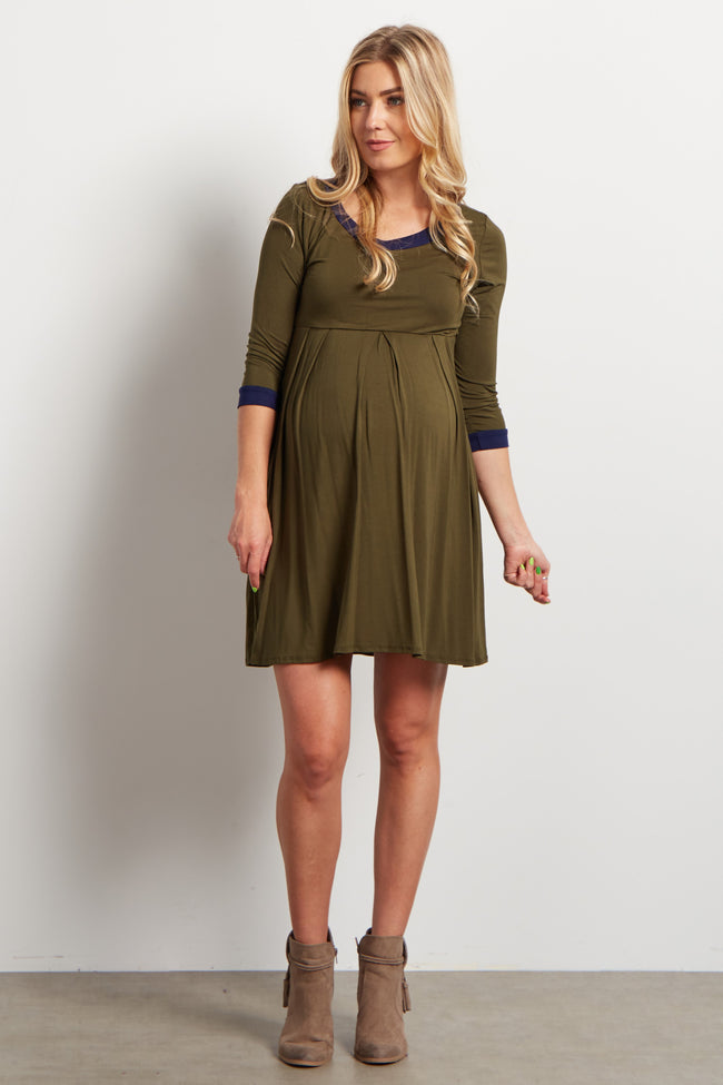 Olive Navy Trim 3/4 Sleeve Maternity Dress