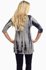Navy Grey Tie Dye Fitted Maternity Top