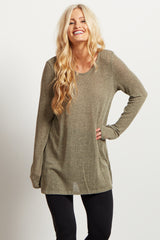 Olive Scoop Back Knit Maternity Tunic