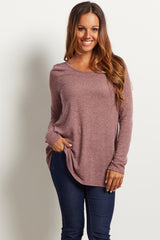 Mauve Scoop Back Knit Tunic