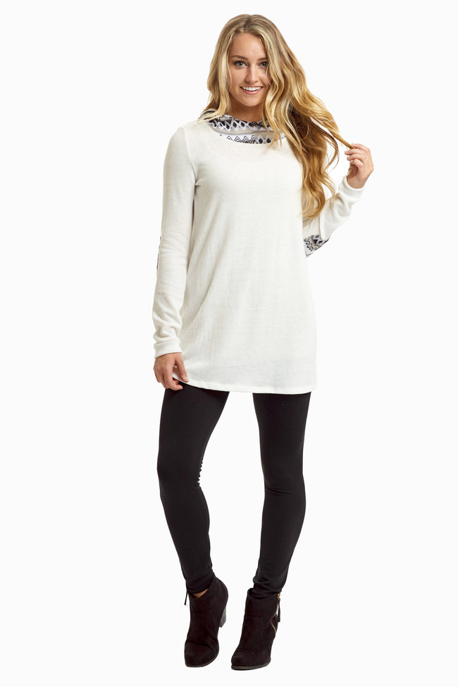 Ivory Black Embroidered Hood Maternity Top
