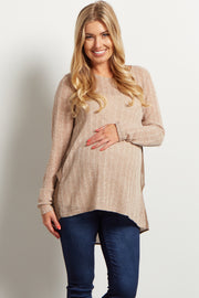 Mocha Chiffon Back Knit Maternity Top