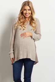Grey Chiffon Back Knit Maternity Top