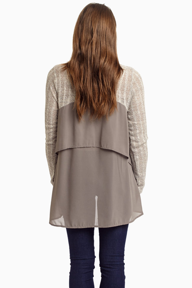 Grey Chiffon Back Knit Top