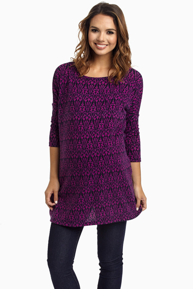 Purple Damask Maternity Tunic