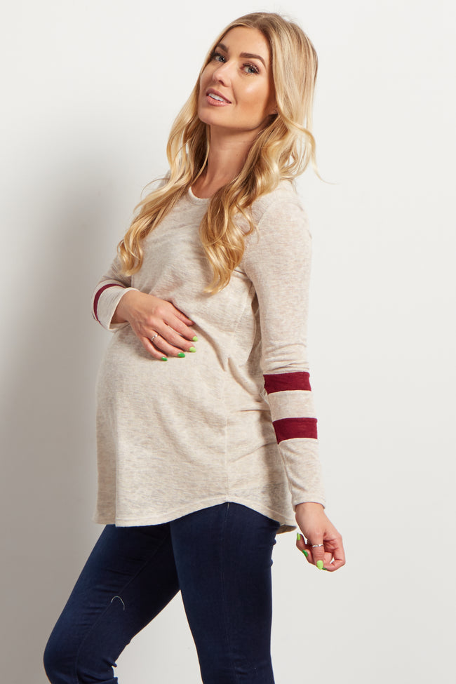 Burgundy Striped Sleeve Maternity Knit Top