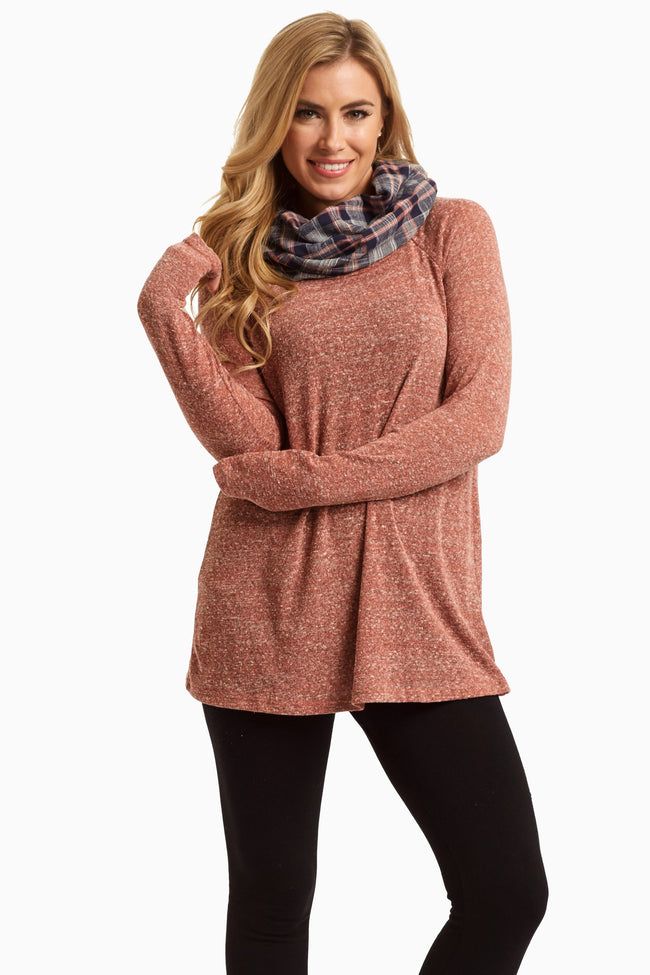 Rust Plaid Cowl Neck Knit Maternity Top