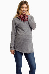 Grey Plaid Cowl Neck Knit Maternity Top