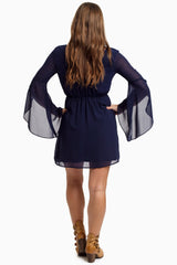 Navy Blue Bell Sleeve Chiffon Dress