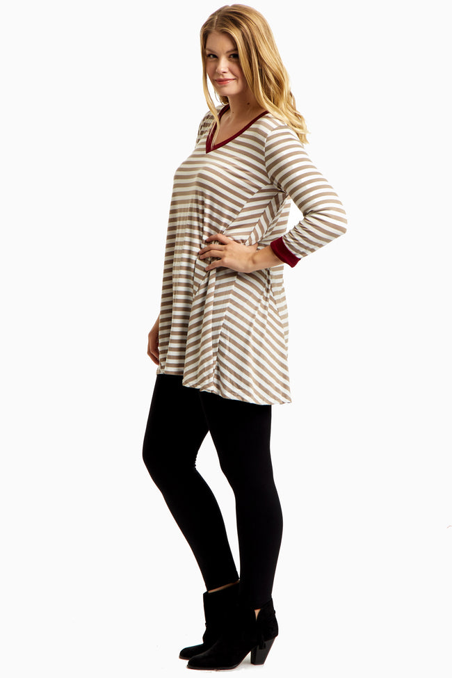 Taupe Striped Burgundy Accent Plus Size Top