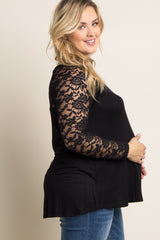 Black Lace Sleeve Plus Size Maternity Top
