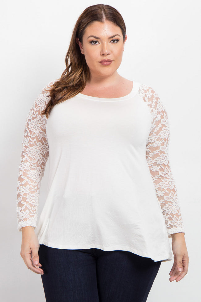 Ivory Lace Sleeve Plus Maternity Top