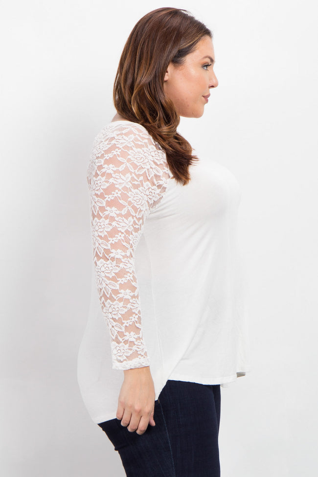 Ivory Lace Sleeve Plus Size Top
