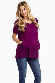 Plum Draped Pocket Front Maternity Top