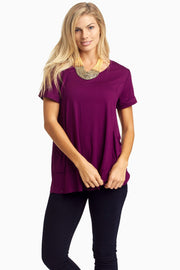 Plum Draped Pocket Front Top