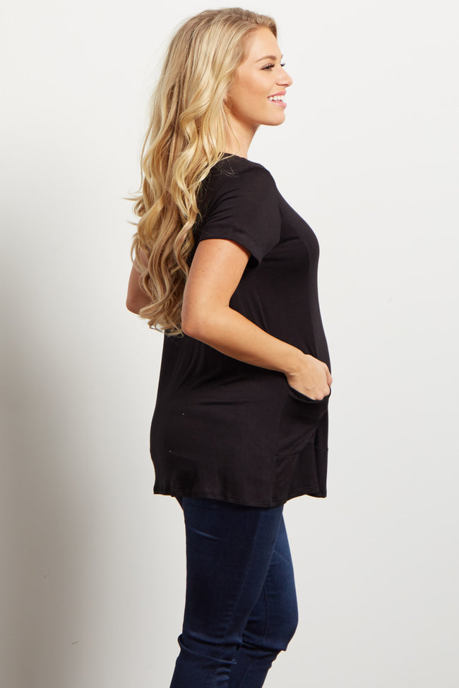 Black Draped Pocket Front Maternity Top