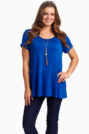 Blue Draped Pocket Front Top