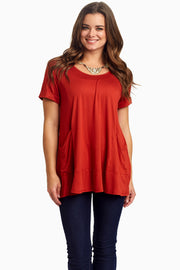 Rust Draped Pocket Front Top