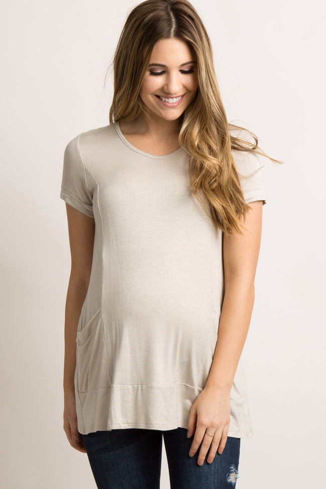 Taupe Draped Pocket Front Maternity Top
