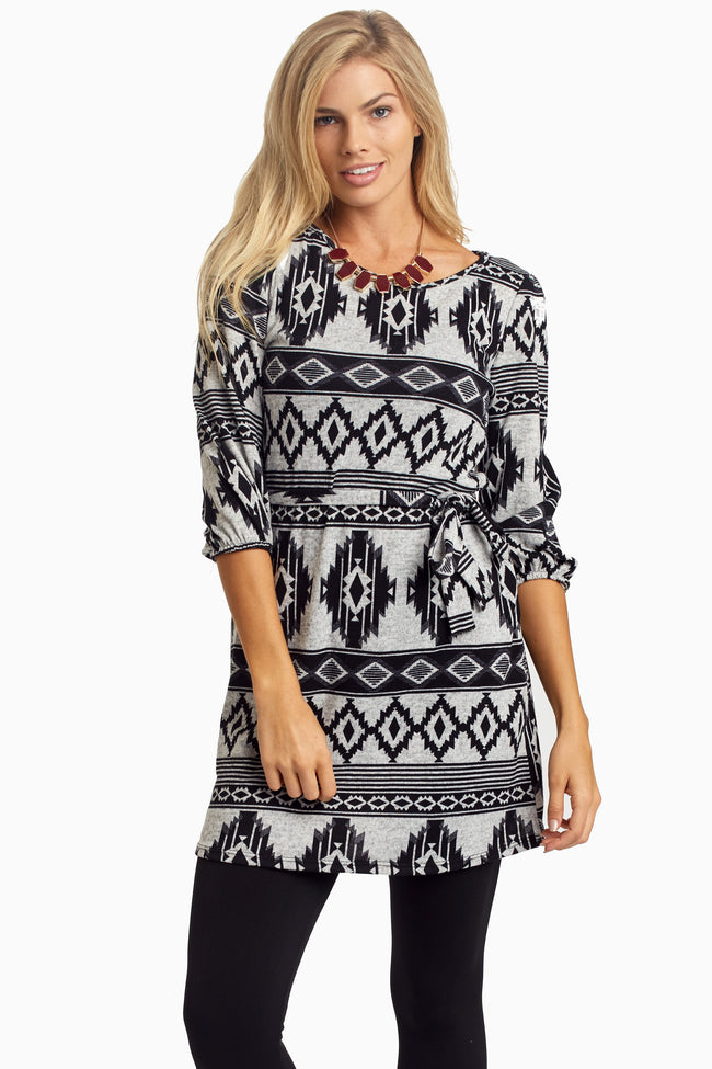 Black Tribal Sash Tie Top