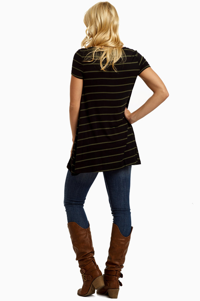 Olive Black Striped Tunic