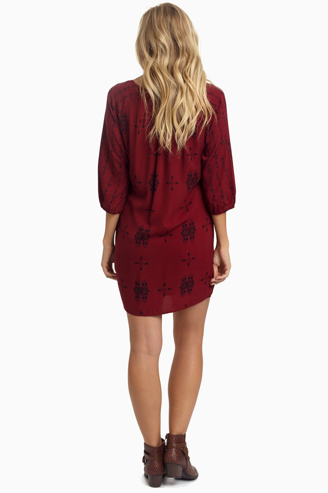 Burgundy Tribal Tie Front Shift Dress