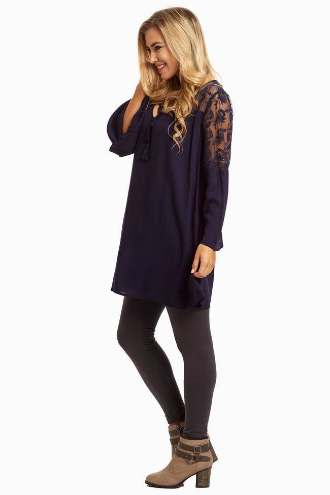 Navy Blue Lace Top Linen Tunic