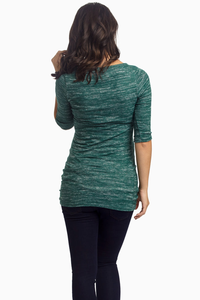 Forest Green Heathered Soft Knit Fitted Maternity Top
