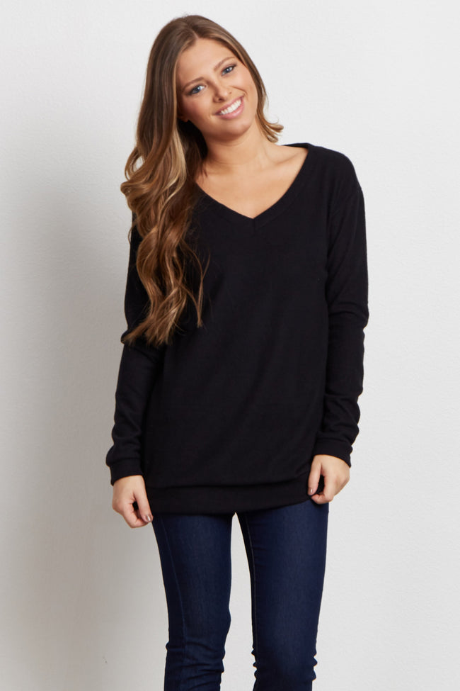 Black Soft Knit Top
