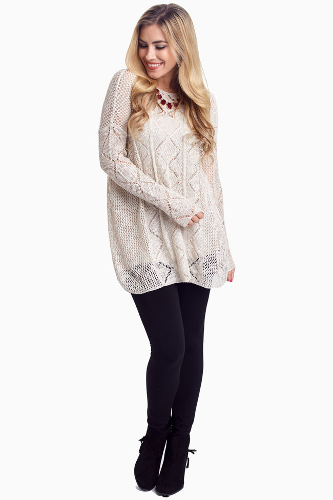 Beige Diamond Open Knit Sweater