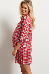 Red Plaid Flannel Maternity Dress/Tunic