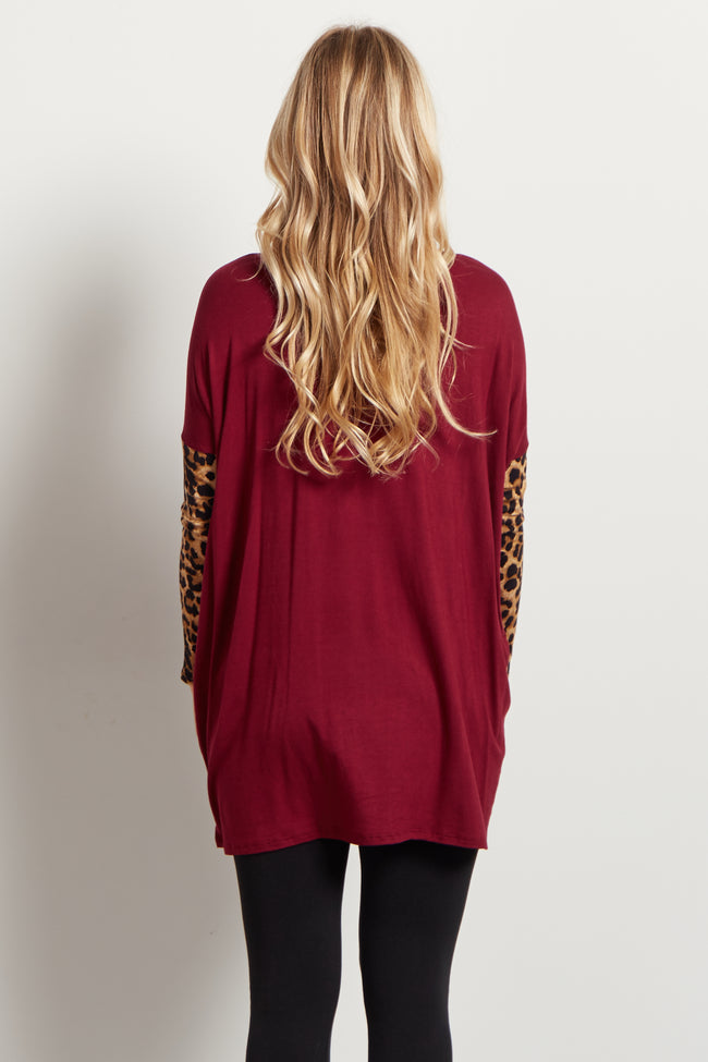 Red Animal Sleeve Maternity Top