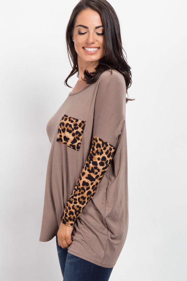 Mocha Animal Sleeve Maternity Top