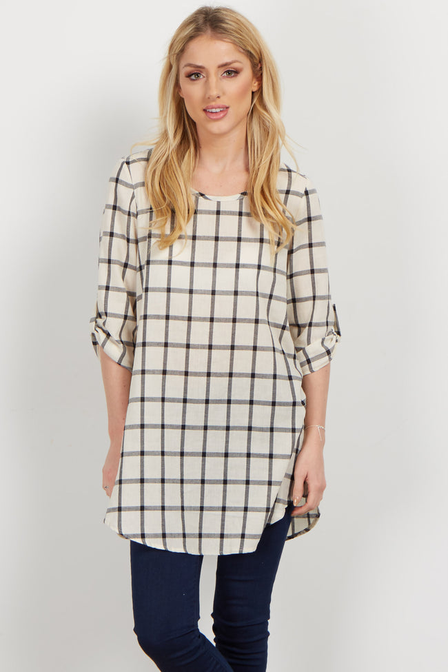 Ivory Plaid Linen 3/4 Sleeve Tunic