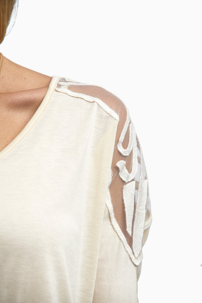 Beige Embroidered Mesh Back Top