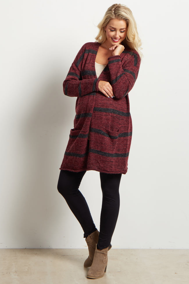 Burgundy Striped Oversized Knit Maternity Cardigan
