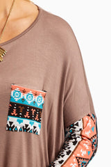 Mocha Neon Tribal Sleeve Top
