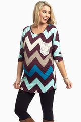 Plum Chevron Crochet Pocket Maternity Top